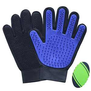Pet Grooming Deshedding Glove Brush for Dogs Cats and Horses, Gentle Massage Remove Hair, 2 Pack with 1 Brush