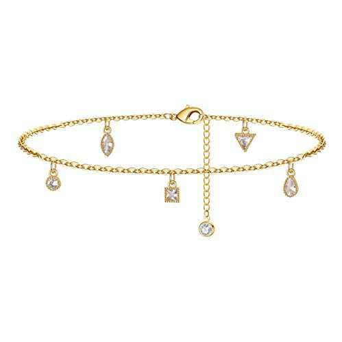 Yoosteel Dainty CZ Ankle Bracelets for Women, 14K Gold Filled Sparkle CZ Anklet Adjustable Mini CZ Charm Ankle Bracelets for Women Girls Jewelry(Mini CZ)