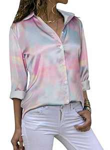 Yidarton Women's Long Sleeve V Neck Chiffon Blouses Tops Button Down Business Shirts(Tie Dye,S)
