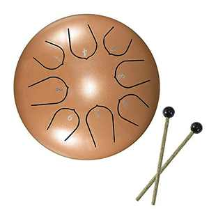Vvciic Steel Tongue Drum 8 Notes 6 Inches Tongue Drum Notes Percussion Instrument Steel Drums with Bag, Music Book, Mallets, Golden