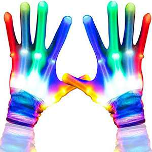 ZYX Flashing Light Up Gloves with Colorful Finger for Party Cool Light Up Costume for Halloween Party Cool toys for boys 8-12 years