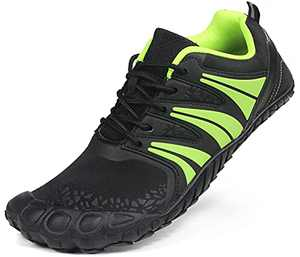 Oranginer Women's Flexible Barefoot Running Shoes Comfortable Minimalist Shoes Gym Workout Shoes Wide Toe Box Shoes for Women Black/Green Size 8.5