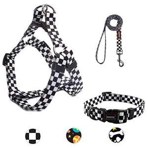 Dog Harness, Dog Leash and Dog Collar, Adjustable Step in Small Dog Harness and Puppy Collars, No Pull Dog Leashes, Set for Small Medium Dogs