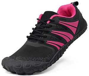 Oranginer Women's Lightweight Barefoot Shoes Zero Drop Minimalist Shoes Comfortable Walking Shoes for Women Black/Rose Size 10.5