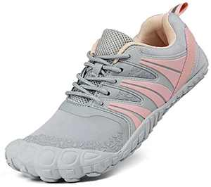 Oranginer Women's Wide Toe Barefoot Shoes Minimalist Running Shoes Indoor Cross Training Shoes for Women Gray/Pink Size 7