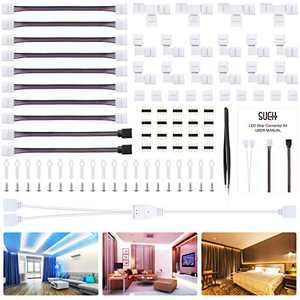SUEH DESIGN LED Strip Connector Kit for 5050 RGB 10mm 4Pin, Right Corner Angle Gapless Adapter, 8 Types of Solderless Strip Accessories Provides Different Connector and Type Meet Your Lighting Needs