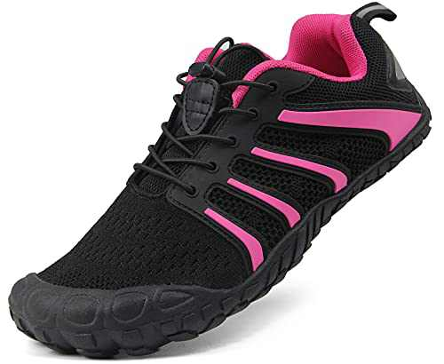 Oranginer Women's Flexible Barefoot Shoes Zero Drop Minimalist Running Shoes Outdoor Trail Running Shoes for Women Black/Rose Size 8