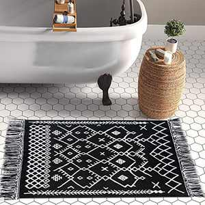 Upgraded Boho Bathroom Rug 2'x3', 100% Woven Boho Rug for Bedroom Black and White Bohemian Rug Bath Mat, Kitchen Rug Washable Cotton Small Throw Rug, Tassel Rug for Kitchen/Laundry/Doorway/Porch