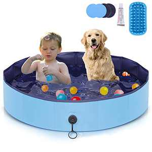 AIIYME Dog Pool, Hard Plastic Foldable Pet Pool Pet Bathtub, 47Inch Large Leakproof Dog Swimming Pool Portable Kiddie Pool, PVC Bathing Tub for Dogs Cats and Kids Indoor & Outdoor, Size L(120 x 30 cm)