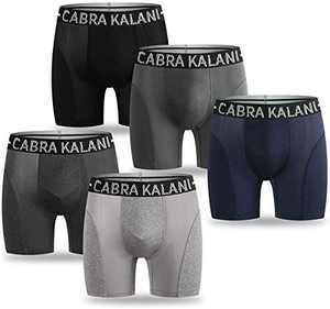 CabraKalani Men's 5-Pack Sport Performance Boxer Briefs Breathable Underwear(Assorted Colors) Grey