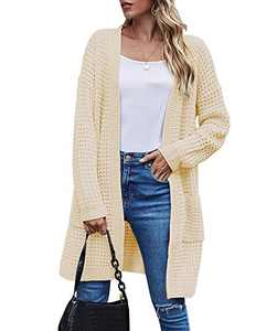 TARSE Womens Long Cardigans Waffle Oversized Open Front Knit Sweater with Pockets, Normal Sleeves, Apricot, XL