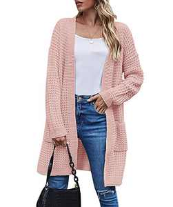 TARSE Womens Waffle Knit Cardigan Oversized Open Front Long Sweater with Pockets, Normal Sleeves, Pink, S