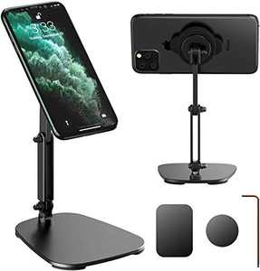 Cell Phone Holder Stand for Desk Angle Height Adjustable, Upgraded Magnetic Phone Stand All Aluminum Alloy Universal Phone Stand for iPhone 11/11 Pro Max/XR/XS Max/Xs/X/8 and More