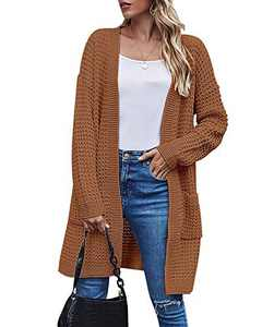TARSE Womens Long Cardigans Waffle Oversized Open Front Knit Sweater with Pockets, Normal Sleeves, Rust Brown, XL