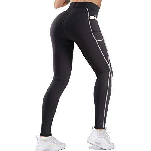 LANCS Women Sauna Sweat Leggings High Waist Slimming Pants Tummy Control Neoprene Compression Workout Tights with Pocket (Black, X-Large)