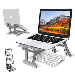 "Laptop Stand,Laptop Holder Riser Computer Tablet Stand, 6 Angles Adjustable Aluminum Ergonomic Folding Portable Desktop Holder Compatible with MacBook,iPad, HP, Dell, Lenovo 10-15.6""(Grey)"