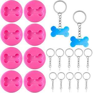 8 Pieces Silicone Dog Bone Shape Mold Dog Bone Keychain Mold with 18 Pieces Key Rings for DIY Handmade Keychain Decoration Supplies