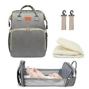 3 in 1 Travel Bassinet Foldable Baby Bed for Bady and Toddler, Diaper Backpack Changing Station,Baby Travel Sleeping Bag with Built in Crib