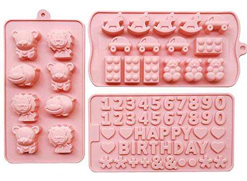 MOMOCAT Set of 3 Candy Molds ,Happy Birthday and Digital Silicone Molds Non-stick Food Grade Silicone Molds (Pink) for Chocolate,Candy, Jelly, Ice cubes