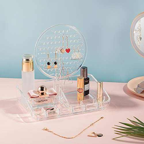 Makeup Organizer Tray with Jewelry Display Tower- 2 in 1 Countertop Makeup Storage Case 360 Degree Swivel Jewelry Stand for Necklaces/ Bracelets/ Earrings- Acrylic, Clear