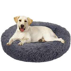 BABYLTRL Dog Bed Cat Bed Donut, Faux Fur Pet Bed Comfortable Cuddler Round, Ultra Soft Calming Dog Bed for Small Medium Large Dogs (M(30'' x 30''), Dark Grey)
