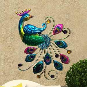 CYA-DÉCOR Solar Metal Wall Peacock Statue Decor Indoor & Outdoor, Hanging Wall Art Décor with Solar Lights, Outdoor Wall Decor for Garden/ Yard/ Front Door/ Entryway