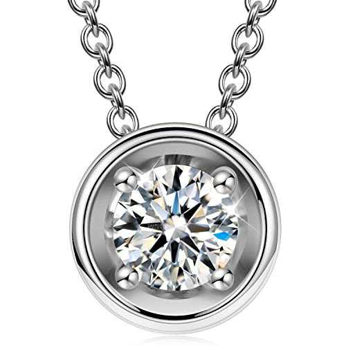 925 Sterling Silver Pendant Necklace Zirconia White Gold Plated Round Cut Cubic Zirconia Necklace Jewelry Gift for Women Girlfriend Mother Gift Graduation Gift