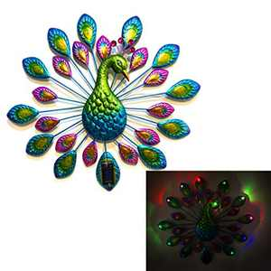 CYA-DECOR Solar Metal Wall Peacock Statue Décor Indoor & Outdoor, Hanging Peacock Wall Art Decoration with Multi-Color Chaging Solar Lights Tail, Garden, Yard, Front Door, Entryway Ornaments.