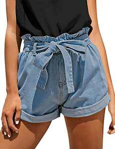 onlypuff Women's Casual High Waisted Rolled Denim Shorts Bowknot Waist Jean Shorts Light Blue L