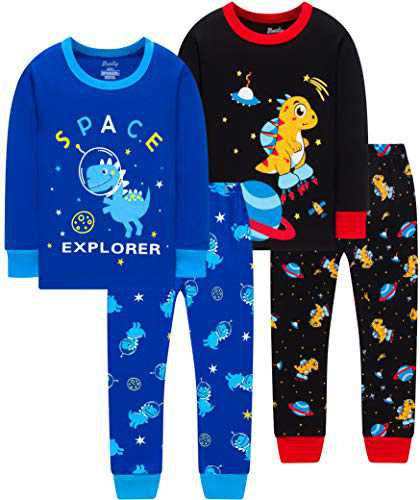Boys Dinosaur Pajamas Children Christmas Spacecraft Cotton Pjs Kids Baby Girls Rocket Sleepwear Size 6