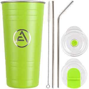 Iced Coffee Tumbler with Straw, EAF Stainless Steel Insulated Tumblers, 16oz Coffee Travel Mug Thermal Cup, Double Wall Hot Cold Tumbler for Women, Men - Avocado Green Powder Coated