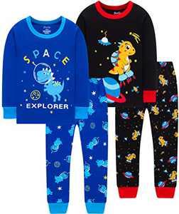 Boys Dinosaur Pajamas Children Christmas Spacecraft Cotton Pjs Kids Baby Girls Rocket Sleepwear Size 10