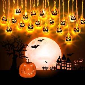 Fenvella Halloween Decor Pumpkin String Lights, Fairy Lights 3M 20 Led Pumpkin Lanterns Battery Powered String Lights
