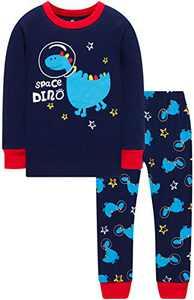 Boys Dinosaurs Astronaut Pyjamas Girls Rocket Pjs Kids Cotton Sleepwear Size 8