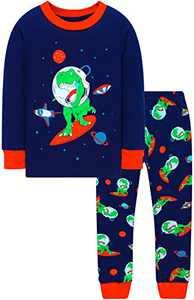Boys Dinosaurs Astronaut Pyjamas Children Rocket Pjs Cotton Sleepwear Size 3