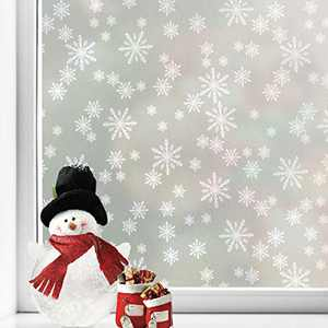 Snowflakes Privacy Window Film Christmas Decorations Frosted Window Cling Non-Adhesive Anti UV Removable Opaque Static Cling for Home Shower Kitchen Rental Room and Office 17.7 x 78.7 Inches