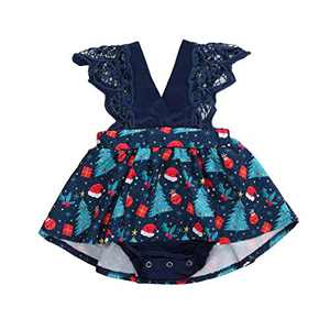 Toddler Baby Girl 2Pcs Romper + Headband Floral Sleeveless Lace Infant Newborn Jumpsuit Sets (6-9 Months, Xmas-Royal Blue (Without Headband))