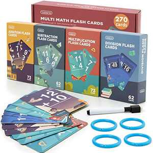 beiens Multi Math Flash Cards, 270 Addition, Subtraction, Multiplication, Division Cards, All Facts 0-12 with 1 Erasable Pen 4 Rings, Math Games Set for Kids Age 6+ 3rd 4th 5th 6th Grade