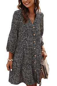 CBOO Midi Dresses for Women Casual Summer Dresses Short Sleeve Print Tie Dress (B Black, XL)