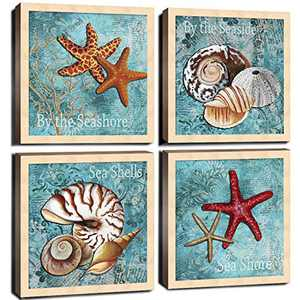 """Beach Themed Bathroom Wall Decor Art Canvas Print Teal Nautical Ocean Seashell Conch Pictures Marine Life Poster Watercolor Paintings Bedroom Living Room Accessories Home Decorations 12"""" Set of 4Pcs"""