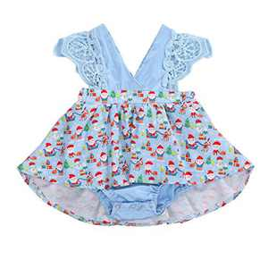 Toddler Baby Girl 2Pcs Romper + Headband Floral Sleeveless Lace Infant Newborn Jumpsuit Sets (9-12 Months, Xmas-Sky Blue (Without Headband))