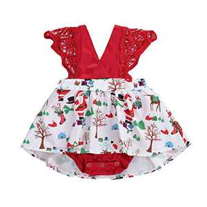 Toddler Baby Girl 2Pcs Romper + Headband Floral Sleeveless Lace Infant Newborn Jumpsuit Sets (9-12 Months, Xmas-Red (Without Headband))