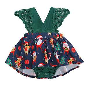 Toddler Baby Girl 2Pcs Romper + Headband Floral Sleeveless Lace Infant Newborn Jumpsuit Sets (6-9 Months, Xmas-Green (Without Headband))