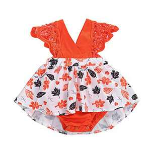 Toddler Baby Girl 2Pcs Romper + Headband Floral Sleeveless Lace Infant Newborn Jumpsuit Sets (0-3 Months, Orange-Leaves (Without Headband))