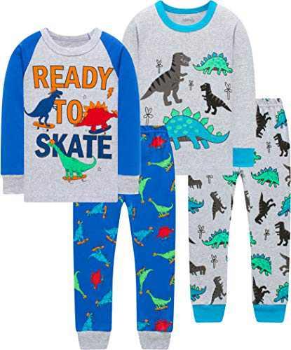 Boys Cute Dionsaurs Skating Pajamas Christmas Children Pjs Girls Cotton Sleepwear Size 4
