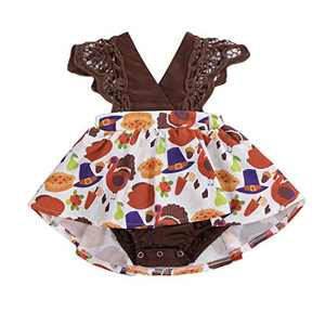 Toddler Baby Girl 2Pcs Romper + Headband Floral Sleeveless Lace Infant Newborn Jumpsuit Sets (0-3 Months, Coffee-Big Turkey (Without Headband))