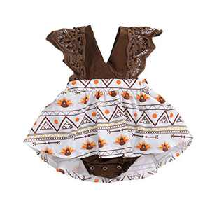 Toddler Baby Girl 2Pcs Romper + Headband Floral Sleeveless Lace Infant Newborn Jumpsuit Sets (3-6 Months, Coffee-Little Turkey (Without Headband))
