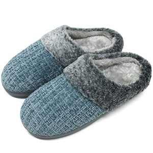 jiajiale House-Slippers-for-Women-Chenille-Women's-Scuff-Slippers Memory Foam Fuzzy Furry Womens Slip-on Mule House Shoes Faux Fur Fluffy Clog Slipper for Women Blue