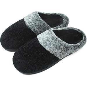 jiajiale House-Slippers-for-Women-Chenille-Women's-Scuff-Slippers Memory Foam Fuzzy Furry Womens Slip-on Mule House Shoes Faux Fur Fluffy Clog Slipper for Women Black