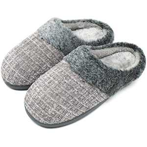 jiajiale House-Slippers-for-Women-Chenille-Women's-Scuff-Slippers Memory Foam Fuzzy Furry Womens Slip-on Mule House Shoes Faux Fur Fluffy Clog Slipper for Women Grey